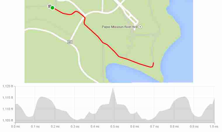 Chalco Hills Tails n Trails 1 mile map with elevation