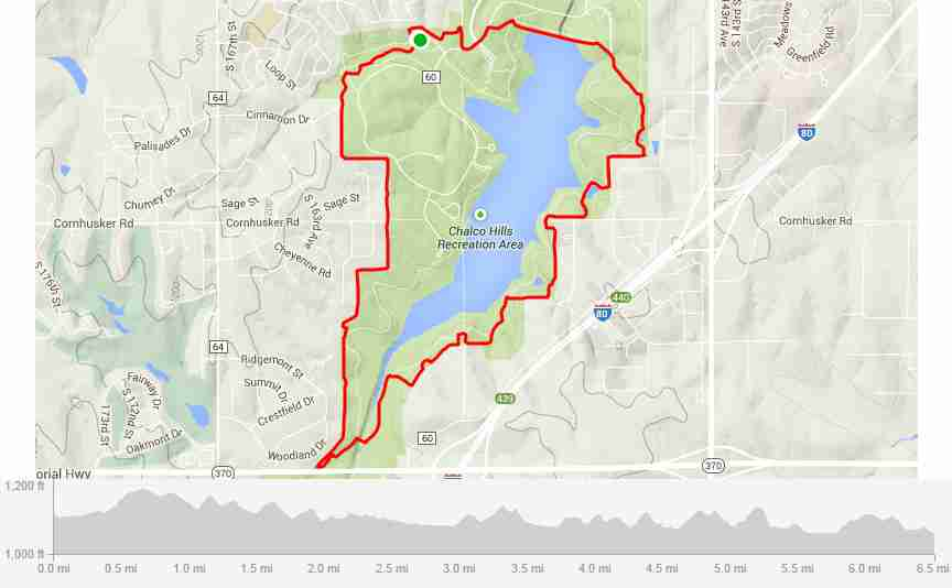 Chalco Hills Tails n Trails 10K map with elevation